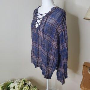 LUSH high/low plaid criss cross blouse size M